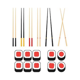Chopsticks holding sushi roll.  of snack, sushi, exotic nutrition, sushi restaurant.  illustration.