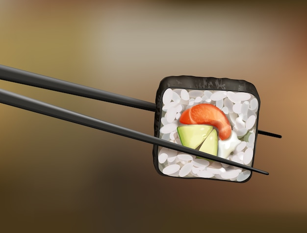 Chopsticks holding sushi roll with salmon, avocado and soft cheese on blur background