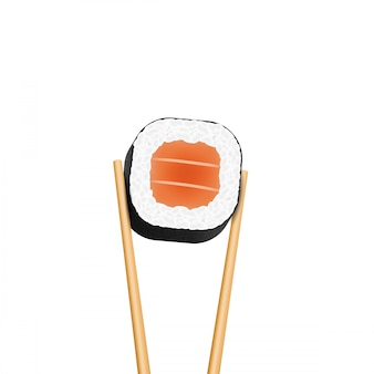 Chopsticks holding sushi salmon pieces roll.