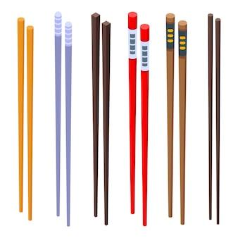 Chopsticks icons set
