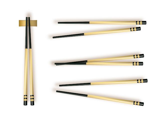 Палочки для еды. установите аксессуары для суши, изолированные на белом фоне. иллюстрация
