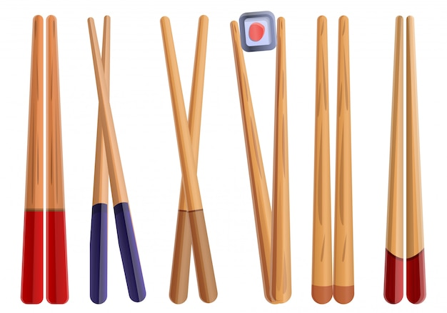 Chopsticks set, cartoon style