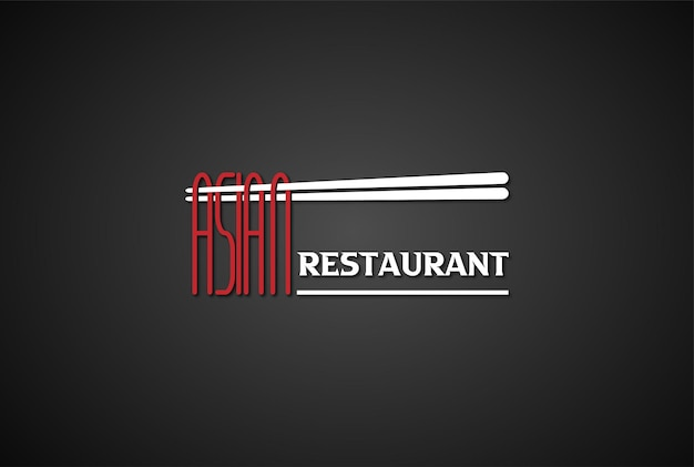 Chopsticks with noodle asian restaurant text font type word typography logo design vector