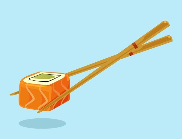 Chopsticks with sushi roll flat cartoon illustration
