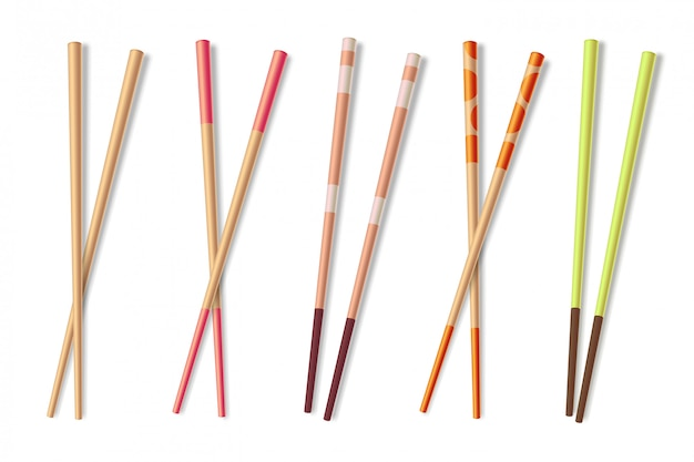箸。木製のアジアの食事スティック。竹中華料理クローズアップ箸分離イラスト