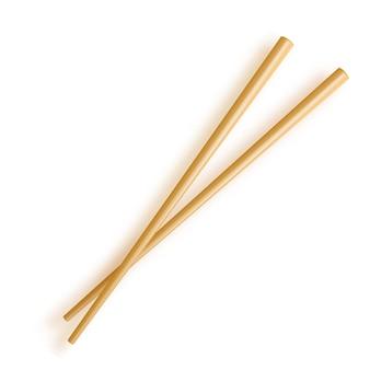 箸。白い背景で隔離された木の箸。