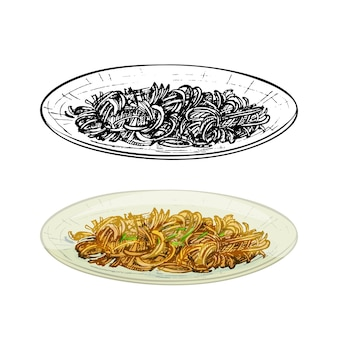 Поедайте мейн на тарелке. винтаж вектор штриховки рисованной иллюстрации изолированные