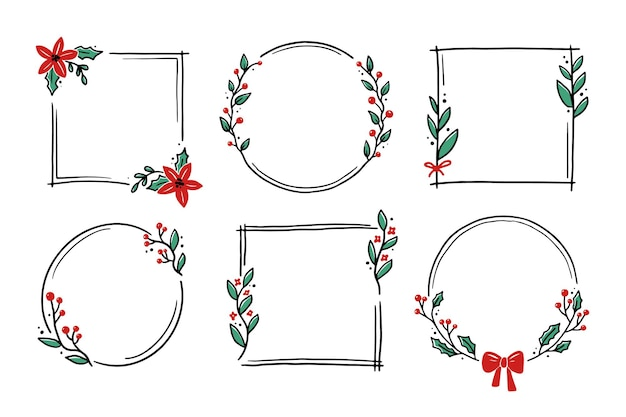 Chrirtmas floral frame with circle, round, rectangle shape. doodle hand drawn style wreath frame. vector illustration for christmas, wedding decoration.