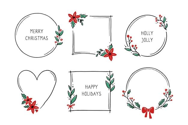 Chrirtmas цветочная рамка с кругом, круглой, прямоугольной формы. каракули рисованной стиль венок кадр. векторная иллюстрация на рождество, свадебное украшение.
