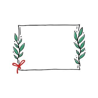 Chrirtmas цветочная рамка с формой прямоугольника. каракули рисованной стиль венок кадр. векторная иллюстрация на рождество, свадебное украшение.