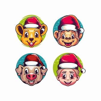 クリスマスのキャラクターのロゴのテンプレート