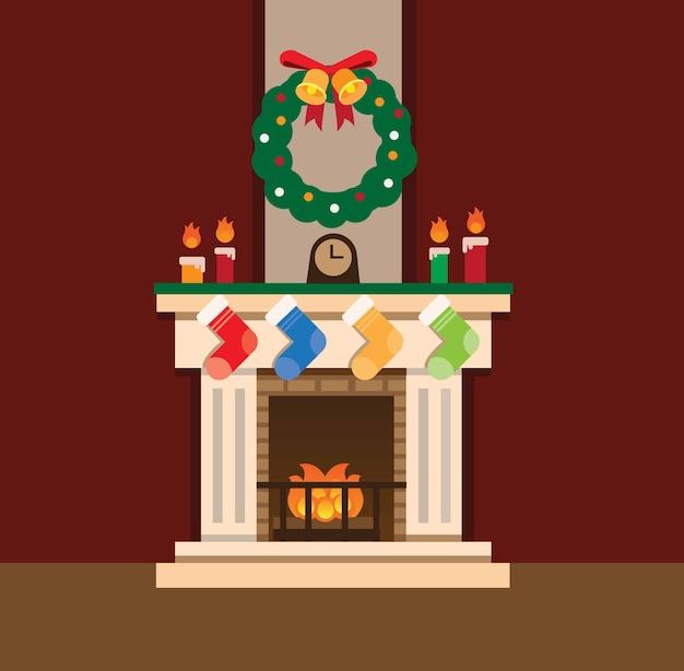 クリスマスデコレーションフラットデザイン