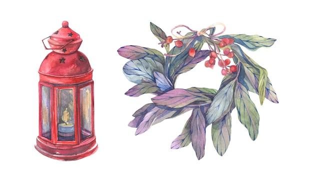 クリスマスのランタンと花輪の分離ベクトル要素