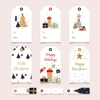 Chrismas tree and gift tag collection Premium Vector