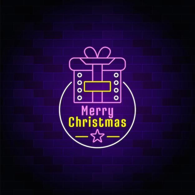 Chrismsギフトボックスネオンサインの背景-クリスマスフェスティバルのネオンテキスト
