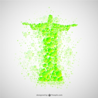 Christ the redeemer made of green bubbles