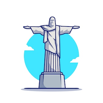 Christ the redeemer statue cartoon   icon illustration. famous building traveling icon concept isolated  . flat cartoon style