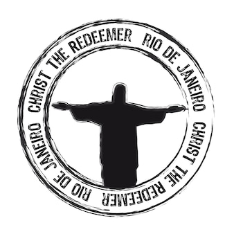 Christ the redemer rio de janeiro stamp isolated