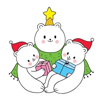 Мультяшный милый christamas family, белый медведь и подарок
