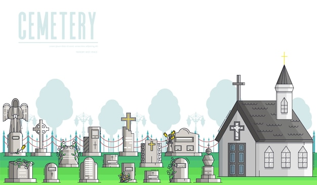 Christian cemetery near church or chapel with graves, tombs, gravestones, crosses, monuments.