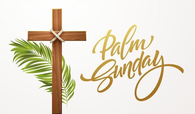 Christian cross. congratulations on palm sunday, easter and the resurrection of christ. vector illustration eps10