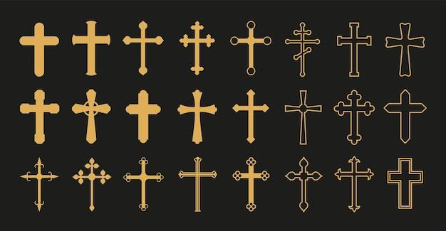 クリスチャンクロス。金の十字架、シンプルな装飾的な十字架。カトリック教会の宗教のベクトル記号。キリスト教とカトリックのシンボルの形、十字架の十字架のイラスト