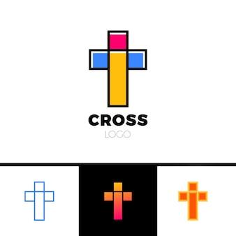 간단하고 깨끗한 스타일의 기독교 십자가 로고. 교회 로고