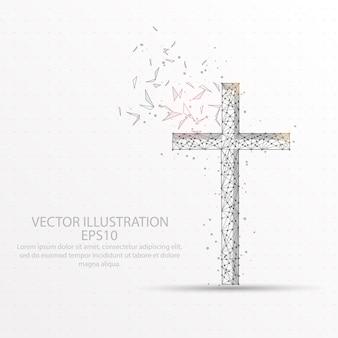 기독교 십자가 흰색 배경에 낮은 폴 리 와이어 프레임.
