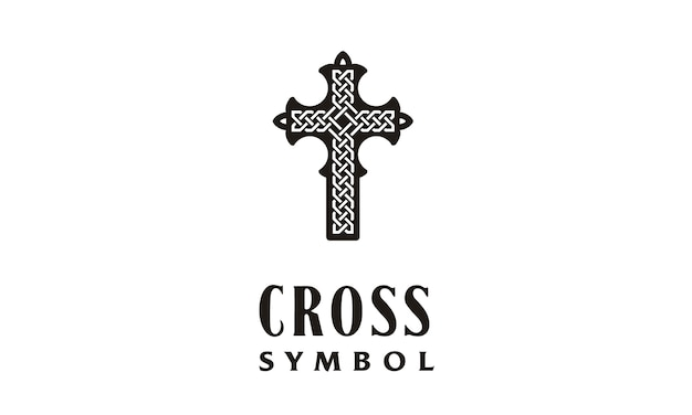 Christian cross with celtic knot logo