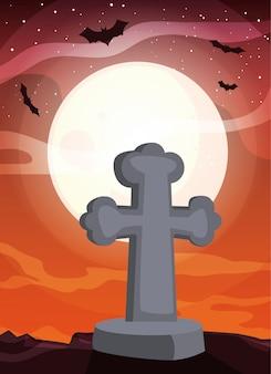 Christian cross with moon in scene of halloween
