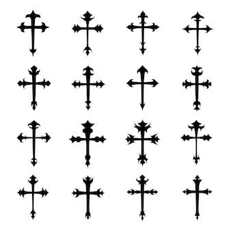 Christian crosses icon vector set