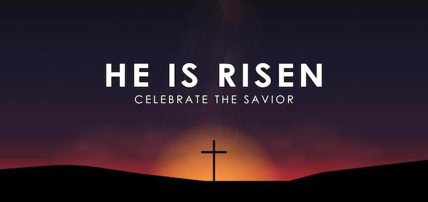 キリスト教のイースターシーン、ドラマチックな日の出シーンでの救い主の十字架、テキスト付き彼は起き上がった、ベクトルイラスト。