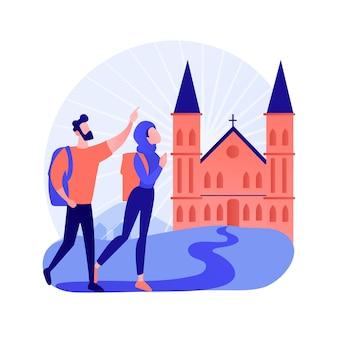 Illustrazione di vettore di concetto astratto di pellegrinaggi cristiani. andare in pellegrinaggio, visitare luoghi santi, cercare dio, monache cristiane, monaci in monastero, processione religiosa, metafora astratta di preghiera.