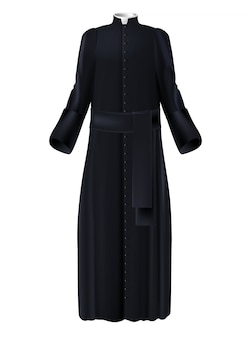 Christian priest cleric black cassock with white collar