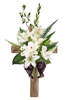 꽃과 잎으로 장식 된 기독교 나무 십자가