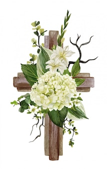 Christian wooden cross decorated with white hydrangea and leaves