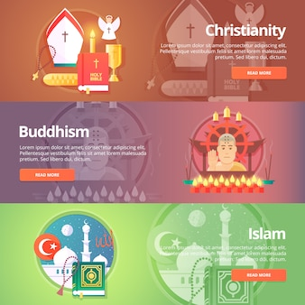 Christianity. buddhism religion. buddhistic culture. islam religion. muslim culture. religion and confessions banners set.   concept.