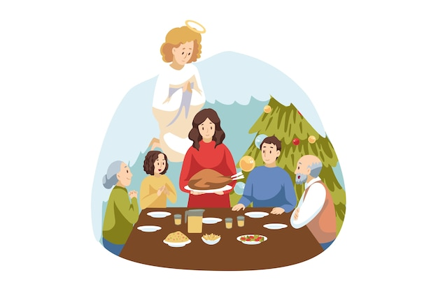 Christianity, celebration. angel biblical religious character watches at family dinner on christmas.