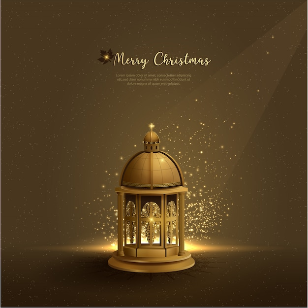 Christianity greetings christmas background with golden church lanterns