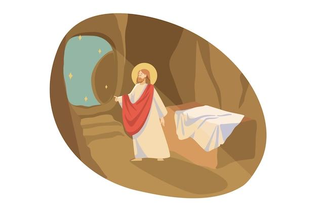 Христианство, религия, библейская концепция. иисус христос, сын бога, евангельский пророк, религиозный библейский персонаж, выходит из гробницы пещеры место захоронения. вознесение мессии и иллюстрация нового завета.