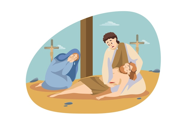 Christianity, religion, bible concept. maria and simon sitting and crying near dead body of jesus christ.