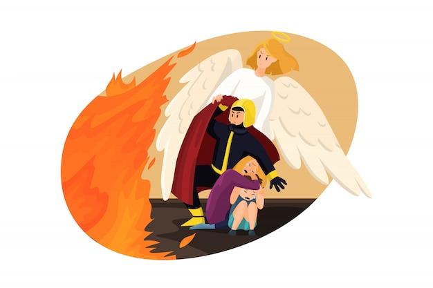 キリスト教、宗教、保護、ケアのコンセプト。消防士が子供と一緒に怖い女性を火事から守るのを助ける天使の聖書の宗教的な性格。神のサポートまたは救助のイラスト。