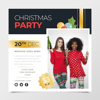 Christma party poster template with photo