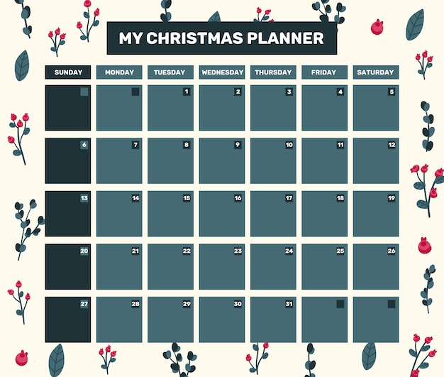 Christmas 2021 calendar holiday celebration design collection set sticker