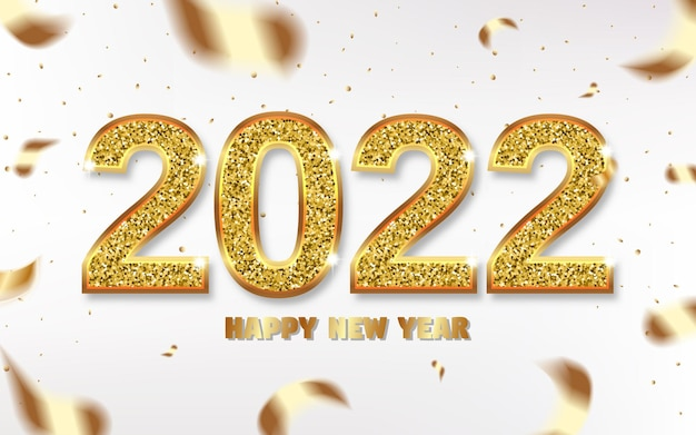 Рождественские числа 2022 года сверкают золотом, лентами и клубящимся конфетти. символ с мягкой тенью. 3d реалистичная иллюстрация. светлый фон. вектор.