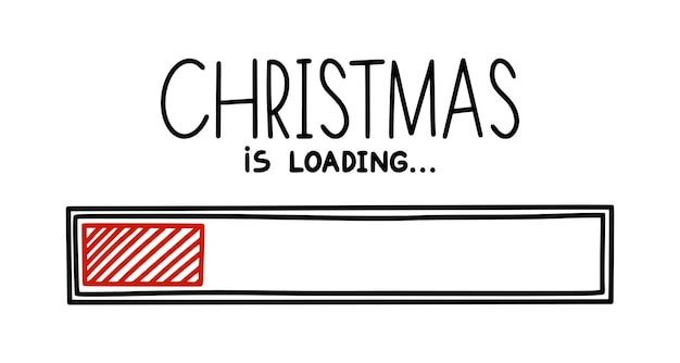 Christmas 2022 progress loading bar infographics design element with red status of completion