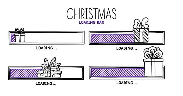완료 상태가 있는 크리스마스 2022 진행 로드 막대 인포 그래픽 디자인 요소