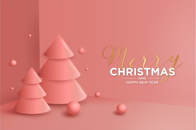 Christmas 3d background with modern christmas 3d tree composition
