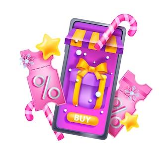 크리스마스 3d 할인 쿠폰 벡터 겨울 휴가 이벤트 상품권 스마트폰 선물 상자 티켓