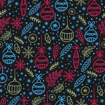 クリスマスアブストラクト手描き飾りシームレスパターン